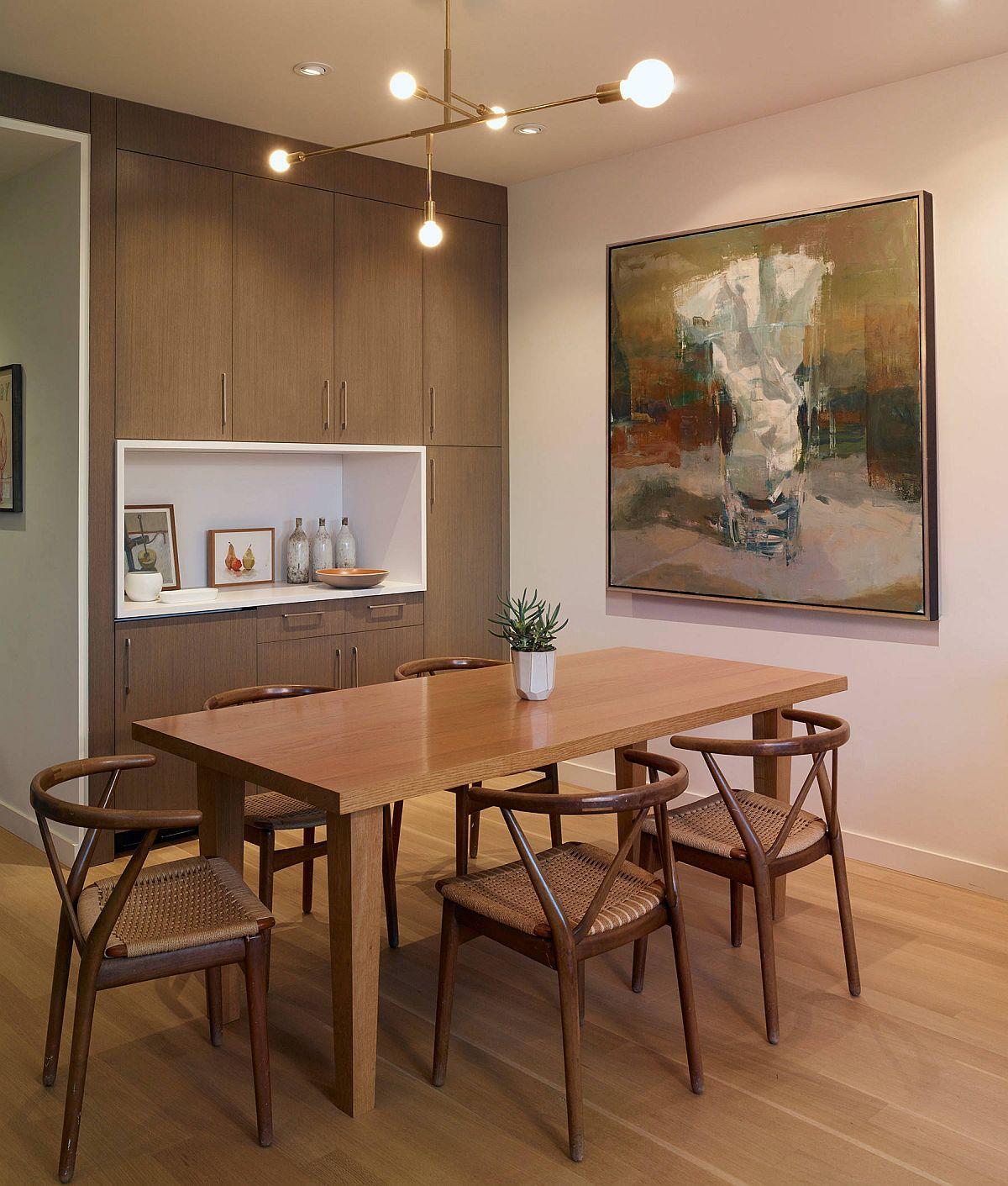 Ảnh hưởng phong cách châu Á được kết hợp với phong cách tối giản trong phòng ăn đẹp này