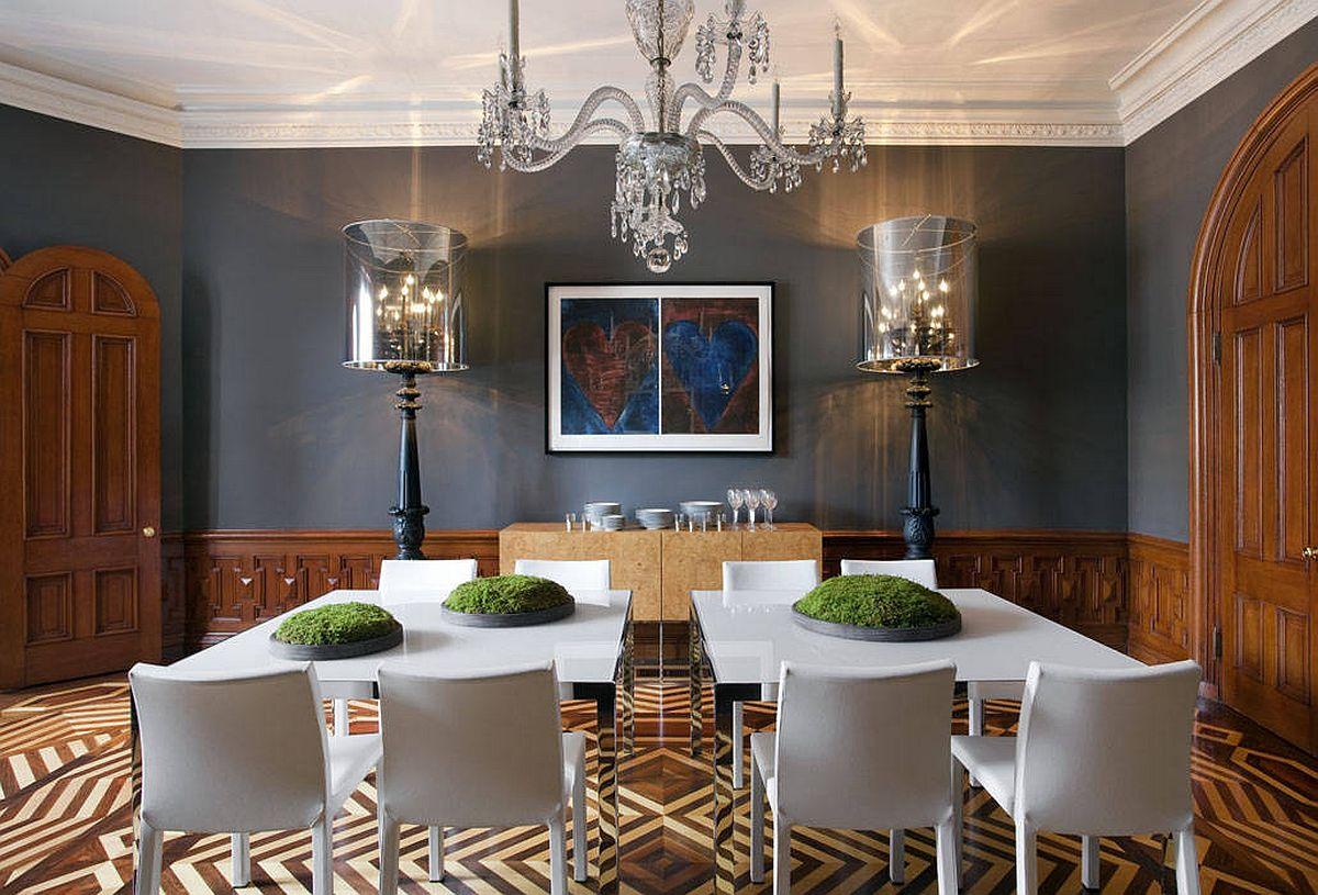 Đồ nội thất và phông nền màu xám đậm tạo thêm phong cách tối giản cho phòng ăn hiện đại rộng rãi này