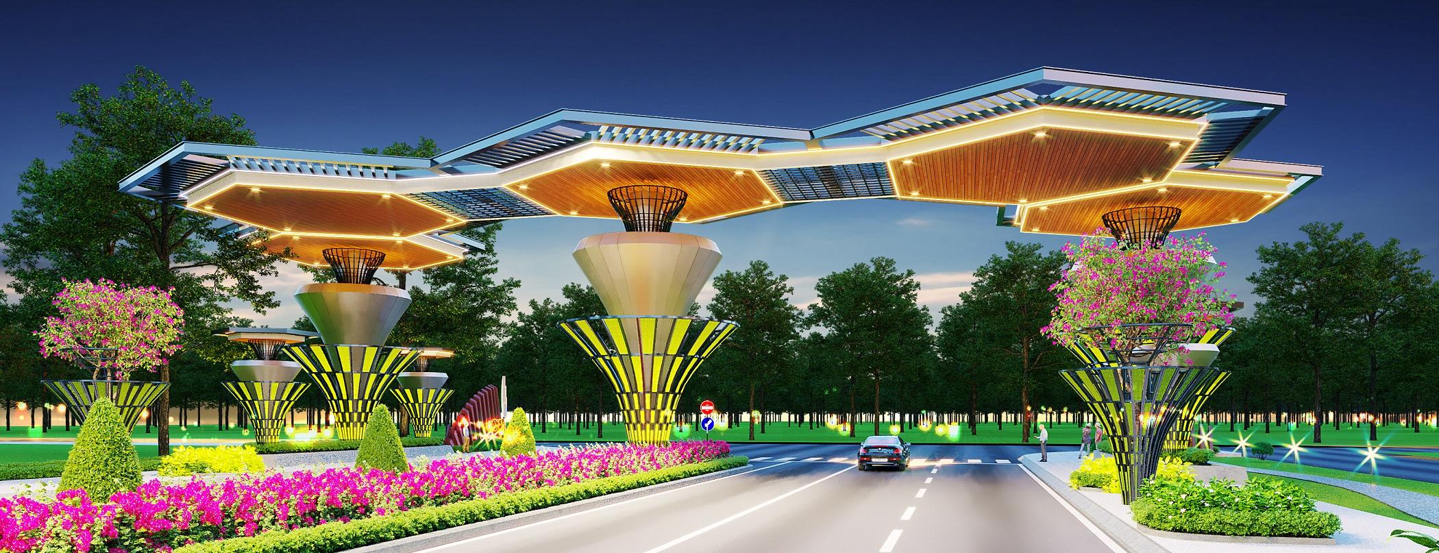 Cổng chào hoành tráng của dự án Gem Sky World