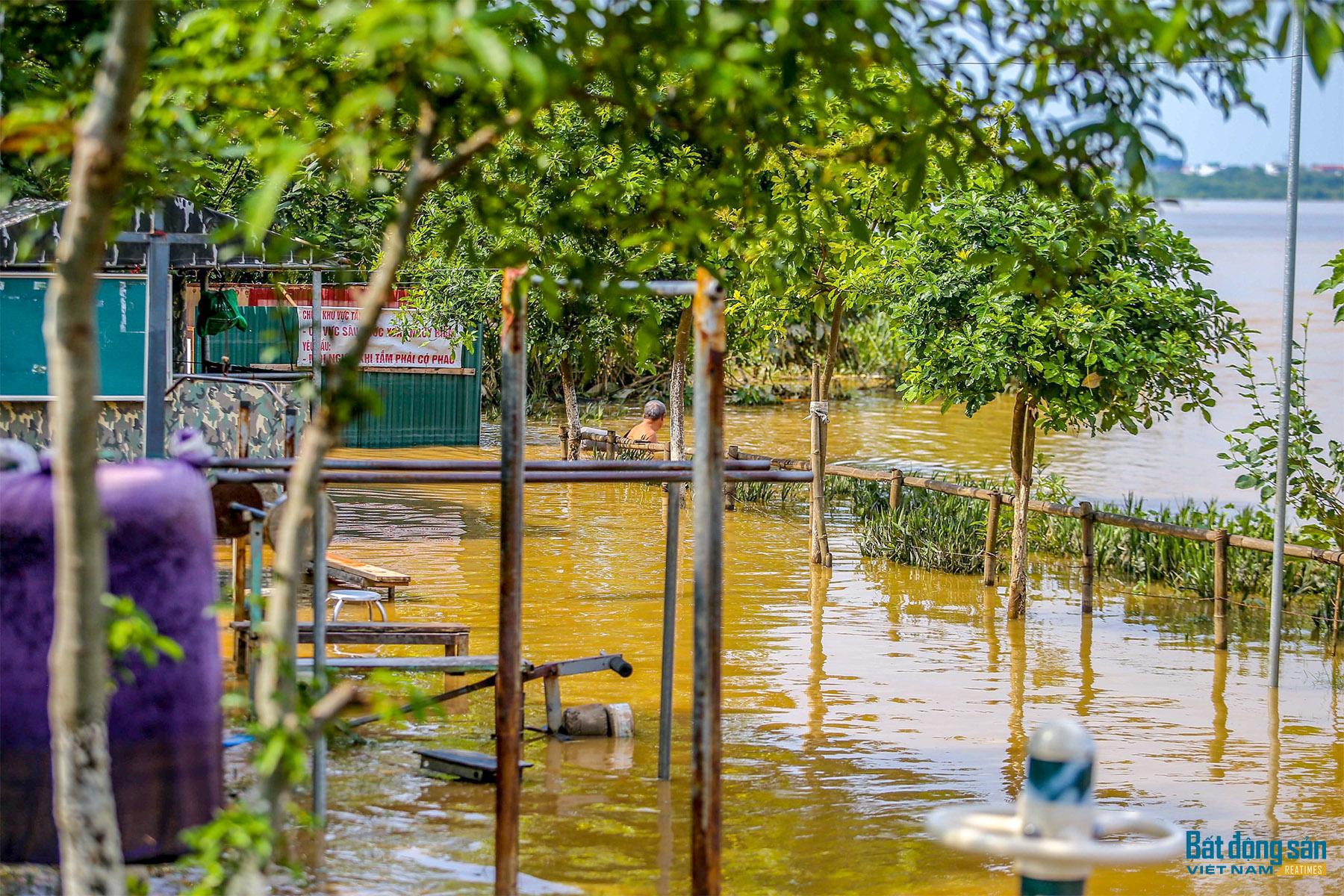 Người dân vẫn vô tư tắm sông Hồng khi nước đang dâng cao