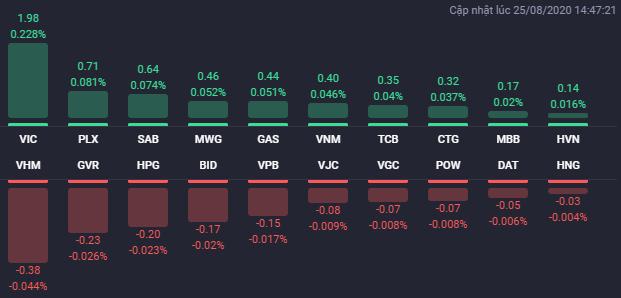 Các cổ phiếu có ảnh hưởng lớn nhất đến VN-Index phiên 25/8. Nguồn: Fialda.