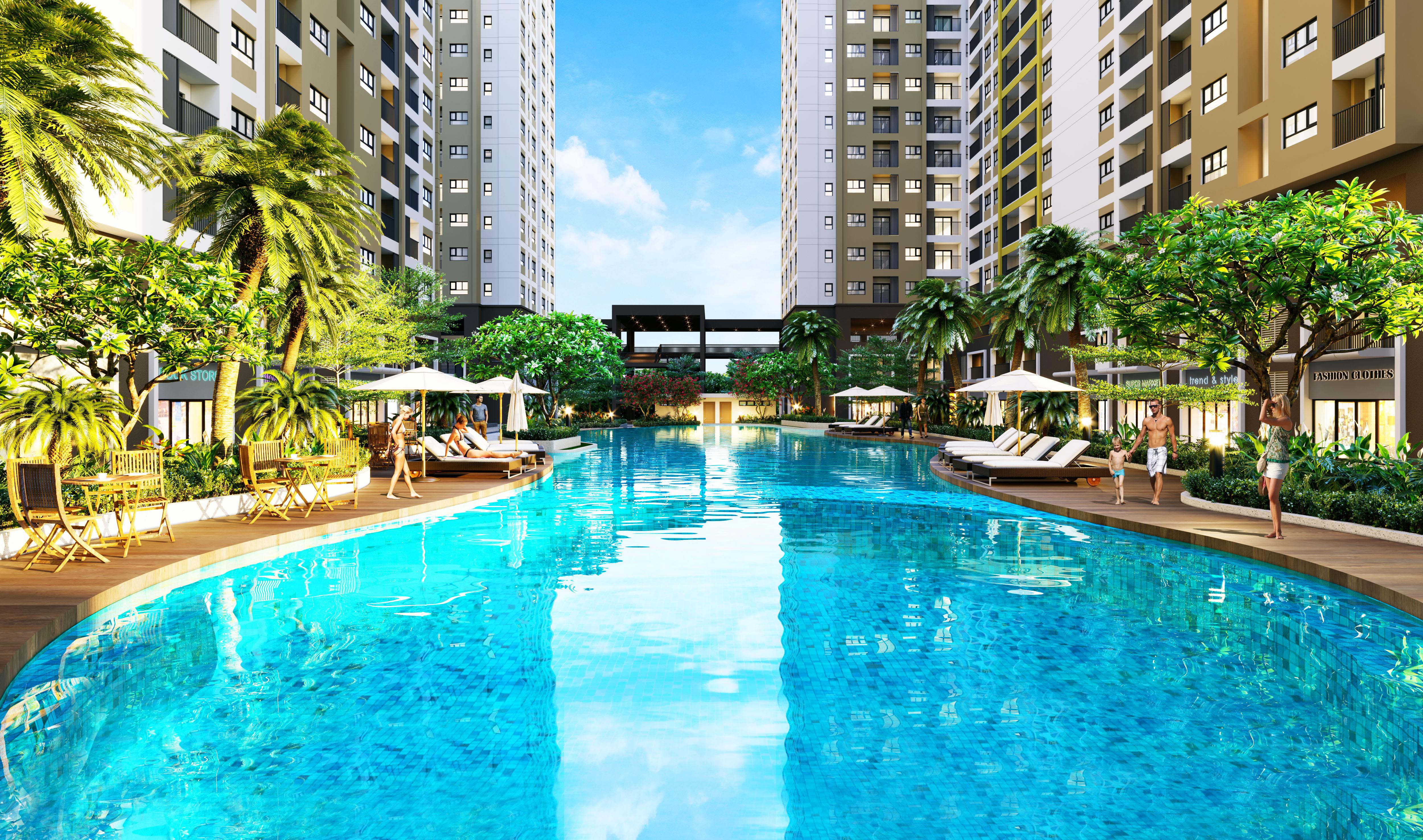 Hồ bơi được thiết kế uốn lượn, tạo cảm giác hài hòa và gần gũi với thiên nhiên