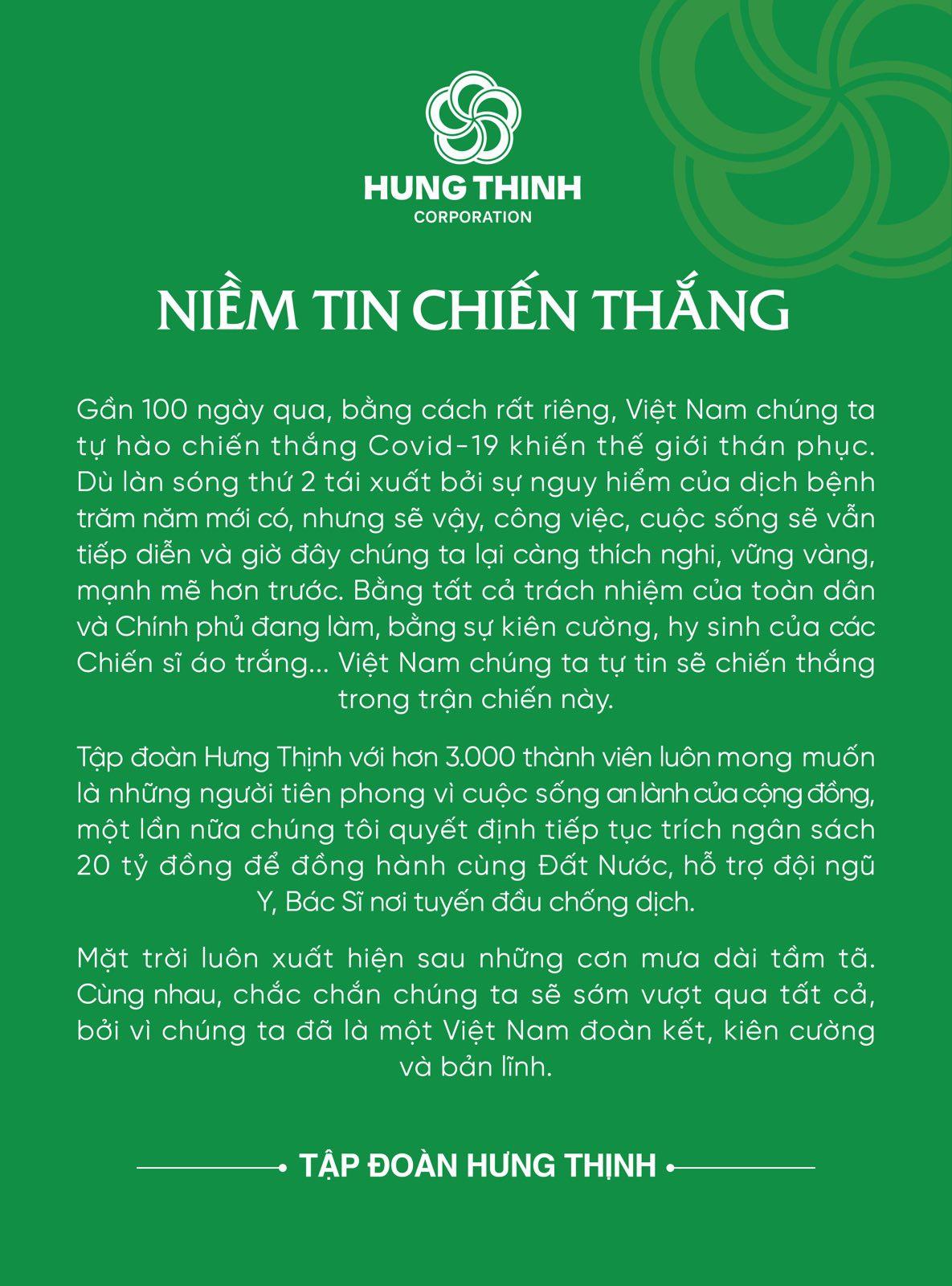 H1.Hung Thinh tiep tuc trich ngan sach 20 ty dong ung ho phong chong  Covid-19