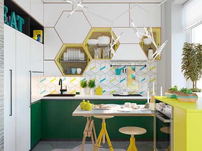 Dù chỉ nhấn nhá vài điểm những bạn không thể phủ nhận được sức hút mà sắc vàng tươi đã mang lại cho căn bếp hiện đại này.