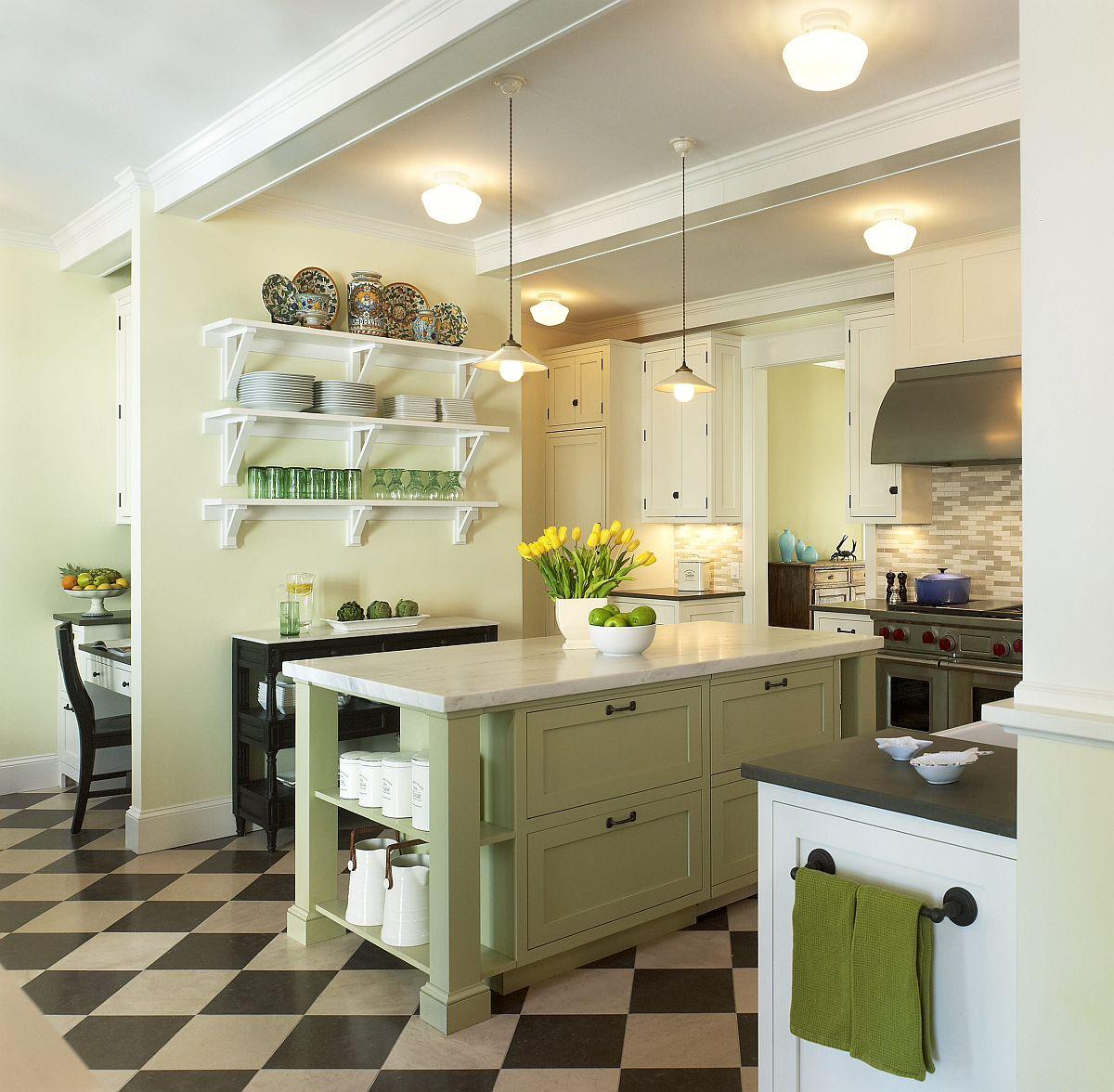 Không quá cầu kỳ, bạn chỉ cần sơn lại chiếc tủ bếp theo màu xanh pastel, bỏ vài chiếc cốc cùng tone màu, hay thậm chí là khăn lau tay, thêm chút hoa vàng trên bàn bếp, và căn phòng đã không còn đơn điệu với tone màu trắng đen như trước nữa.